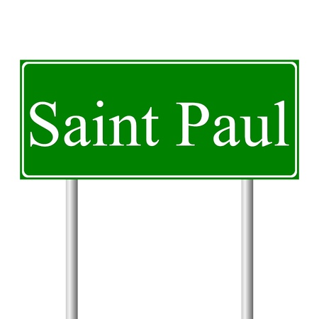 paul: Saint Paul green road sign isolated on white background Illustration