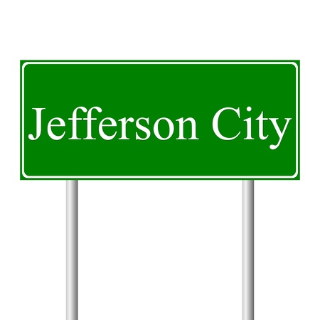 roadtrip: Jefferson City green road sign isolated on white background Illustration