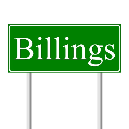 roadtrip: Billings green road sign isolated on white background