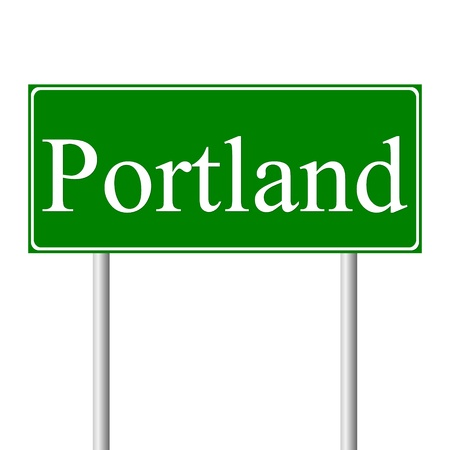 roadtrip: Portland green road sign isolated on white background
