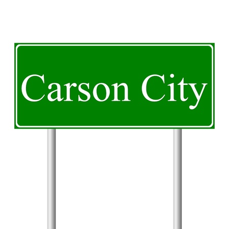 carson city: Carson City green road sign isolated on white background