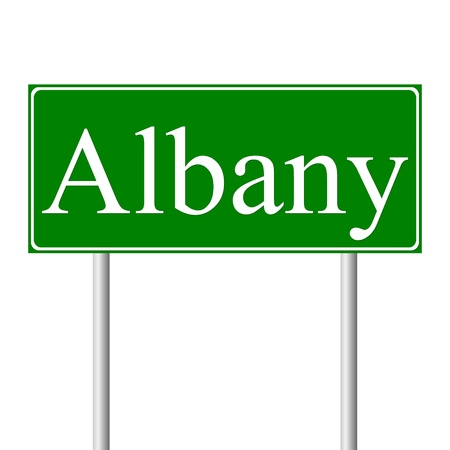 roadtrip: Albany green road sign isolated on white background