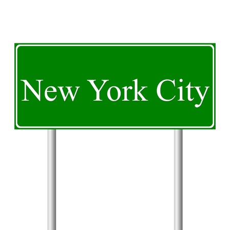 roadtrip: New York City green road sign isolated on white background