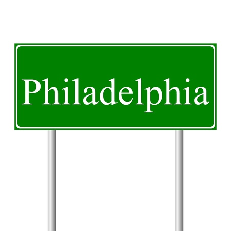 philadelphia: Philadelphia green road sign isolated on white background Illustration