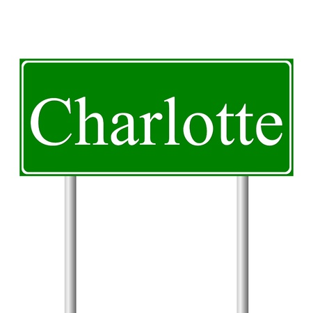 charlotte: Charlotte green road sign isolated on white background