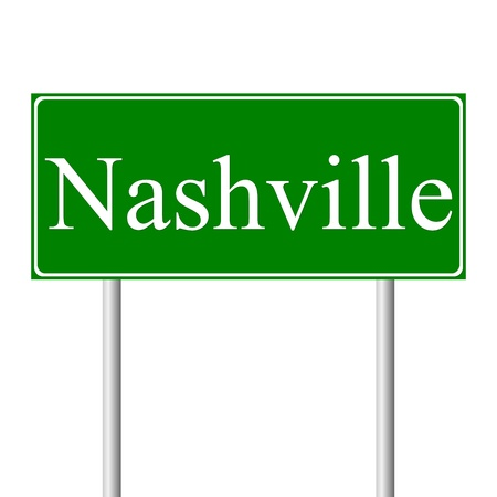 Nashville green road sign isolated on white background Vector