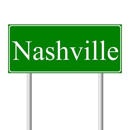 nashville: Nashville green road sign isolated on white background
