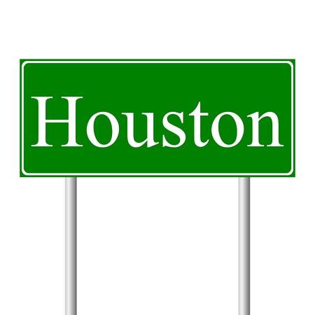 Houston green road sign isolated on white background Vector