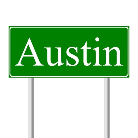 Austin green road sign isolated on white background Vector