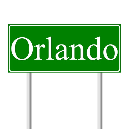 roadtrip: Orlando green road sign isolated on white background