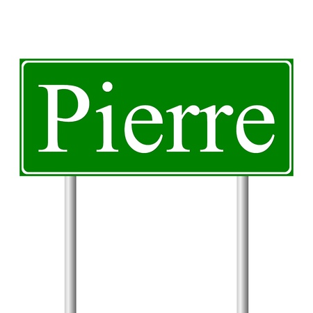 roadtrip: Pierre green road sign isolated on white background