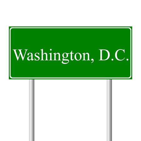 columbia: District of Columbia green road sign isolated on white background Illustration