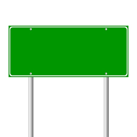 owning: Blank green road sign on white background