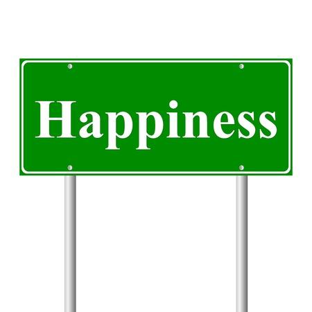 La felicidad, el concepto de señal de carretera verde sobre fondo blanco