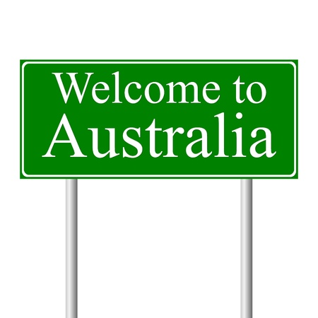 Welcome to Australia, concept road sign isolated on white background Vector