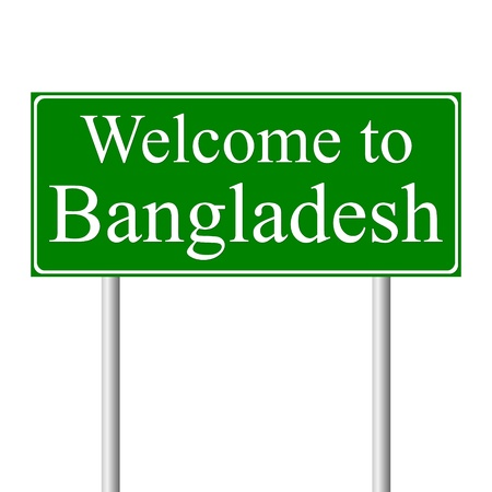 bangladesh: Welcome to Bangladesh, concept road sign isolated on white background Illustration