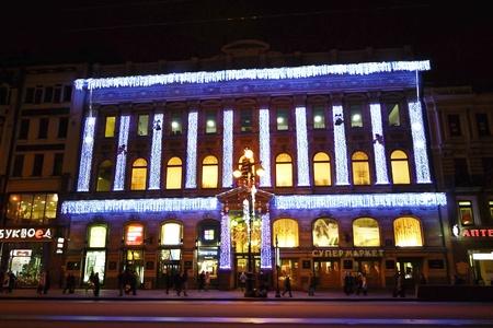 fussy: St.Petersburg, Russia - January 6, 2012: Night Nevsky Prospekt