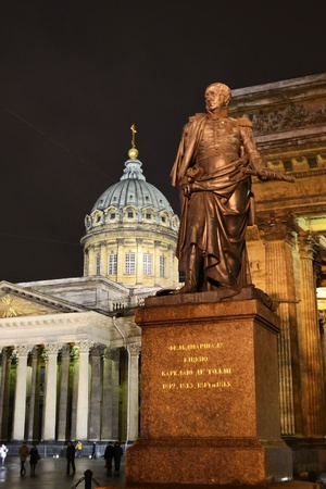 St.Petersburg, Russia - January 6, 2012: Kazanskiy Kafedralniy Sobor and statue of Kutuzov in St. Petersburg by night, Russia
