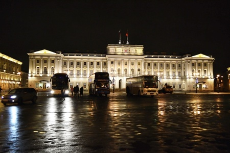 St.Petersburg, Russia - January 6, 2012: Mariinsky Palace at night - building of Assembly of St.Petersburg, Russia