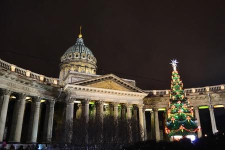 Kazanskiy Kafedralniy Sobor in St. Petersburg by night, Russia