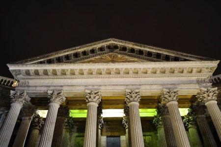 Colonnade of Kazanskiy Kafedralniy Sobor in St. Petersburg by night, Russia