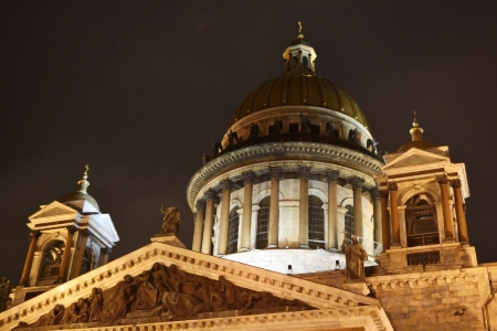 synod: St. Isaak Cathedral at night in St. Petersburg, Russia Stock Photo