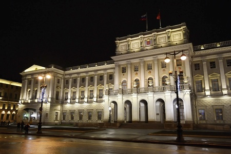 eclecticism: Mariinsky Palace at night - building of Assembly of St.Petersburg, Russia
