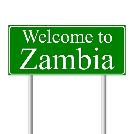 Welcome to Zambia, concept road sign isolated on white background