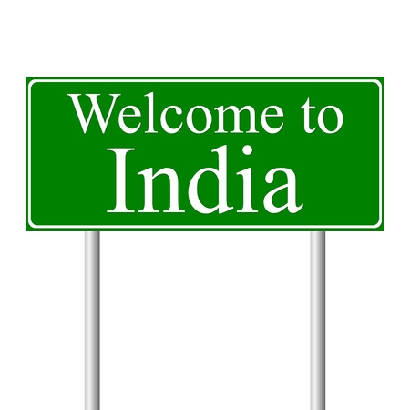 Welcome to India, concept road sign isolated on white background Stock Vector - 11861701