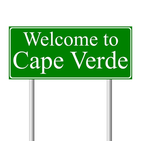 cape verde: Welcome to Cape Verde, concept road sign isolated on white background