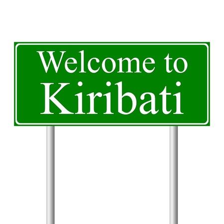 kiribati: Welcome to Kiribati, concept road sign isolated on white background
