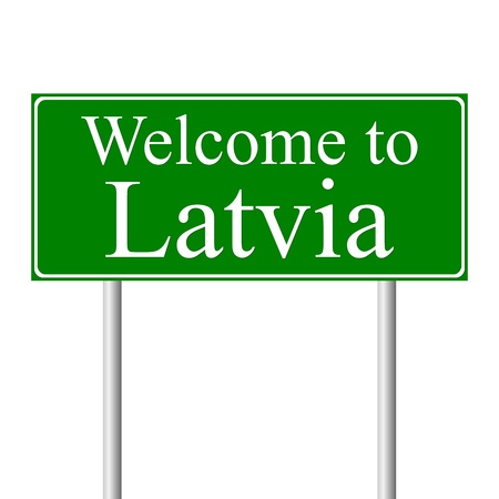 Welcome to Latvia, concept road sign isolated on white background Stock Vector - 11861706