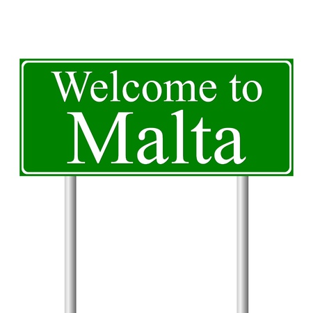 Welcome to Malta, concept road sign isolated on white background 일러스트