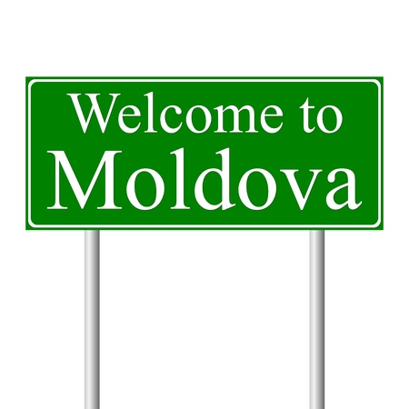 Welcome to Moldova, concept road sign isolated on white background Illustration