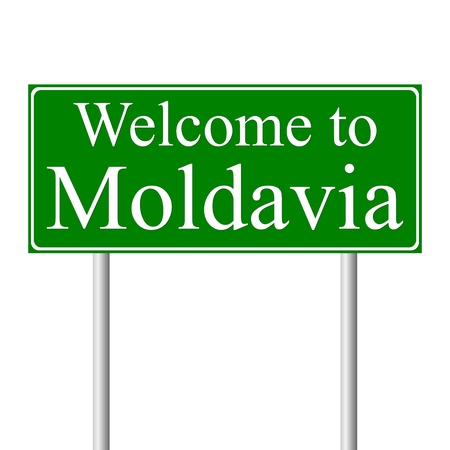 moldavia: Welcome to Moldavia, concept road sign isolated on white background Illustration
