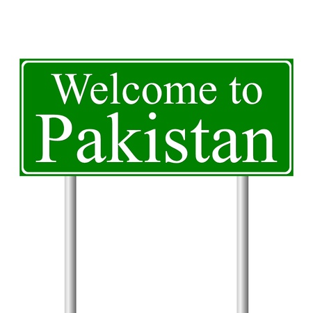 Welcome to Pakistan, concept road sign isolated on white background