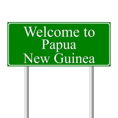 papouasie: Bienvenue � la Papouasie-Nouvelle-Guin�e, panneau de signalisation routi�re notion isol� sur fond blanc