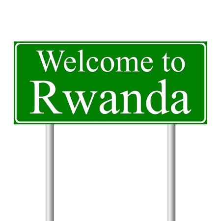 rwanda: Welcome to Rwanda, concept road sign isolated on white background Illustration
