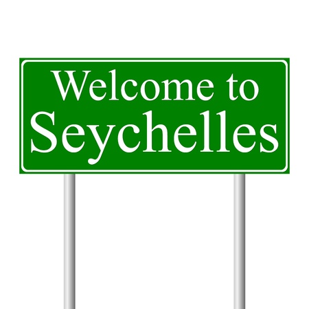 seychelles: Welcome to Seychelles, concept road sign isolated on white background