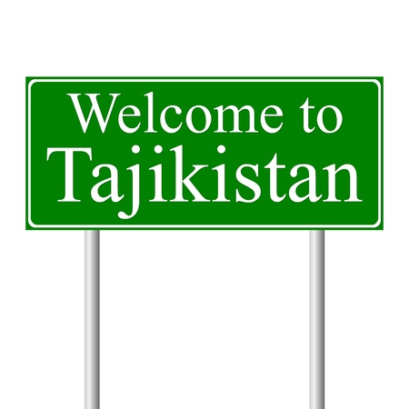 tajikistan: Welcome to Tajikistan, concept road sign isolated on white background Illustration