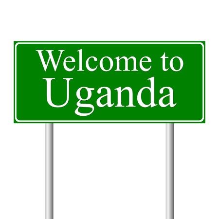 uganda: Welcome to Uganda, concept road sign isolated on white background Illustration