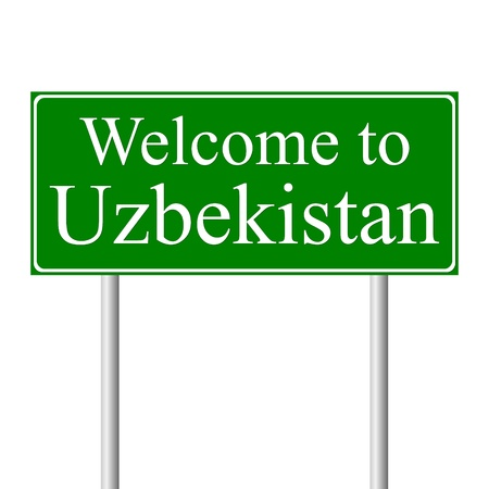 uzbekistan: Welcome to Uzbekistan, concept road sign isolated on white background