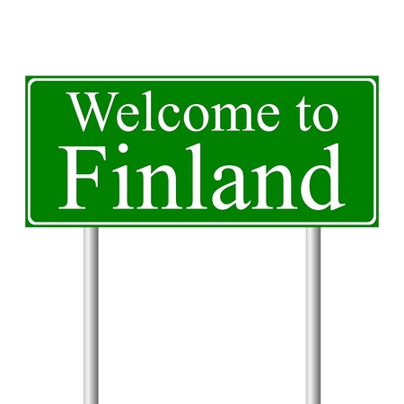 Welcome to Finland, concept road sign isolated on white background Illustration