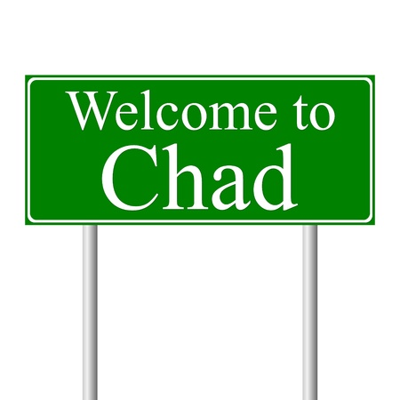 Welcome to Chad, concept road sign isolated on white background Illustration