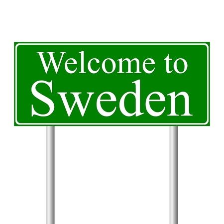 sweden: Welcome to Sweden, concept road sign isolated on white background Illustration