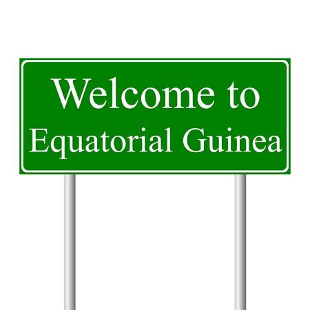 Bienvenido a Guinea Ecuatorial signo, camino concepto aislado sobre fondo blanco Ilustración de vector