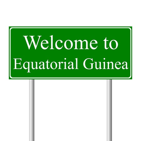 equatorial: Welcome to Equatorial Guinea, concept road sign isolated on white background