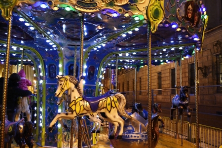 St.Petersburg, Russia - January 4, 2012: a view of some colored carousel horse