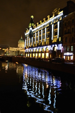 St.Petersburg, Russia - January 4, 2012: Night view of embankment of Griboyedov Canal Stock Photo - 11887876