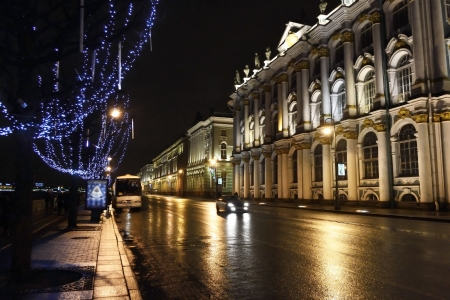 St.Petersburg, Russia - January 4, 2012: Night view of Palace Embankment in St.Petersburg